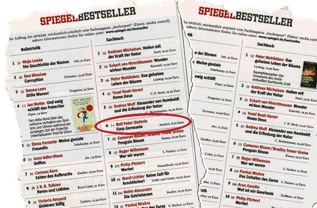 """In der """"Spiegel""""-Bestsellerliste der Ausgabe 29 ist """"Finis Germania"""" noch geführt. In der darauffolgenden Woche fehlt es. Foto: Spiegel"""