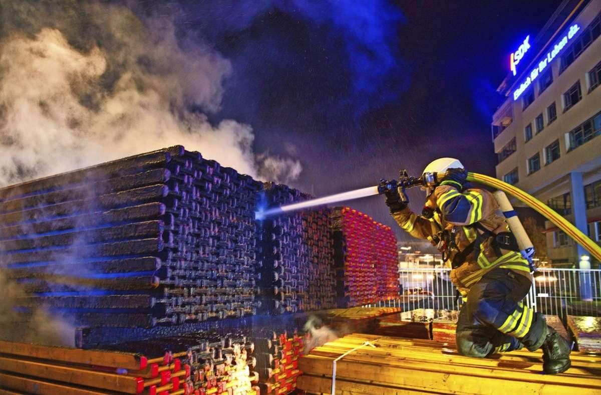 Die Feuerwehr konnte den Brand rasch löschen. Foto: Alexander Ernst /Feuerwehr Fellbach