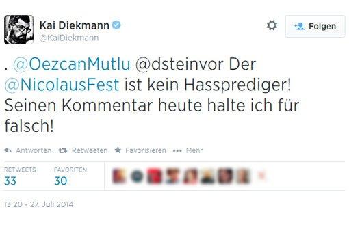 Kai Diekmanns Twitter-Kommentar zu dem umstrittenen Artikel von Nicolaus Fest. Foto: twitter.com/KaiDiekmann