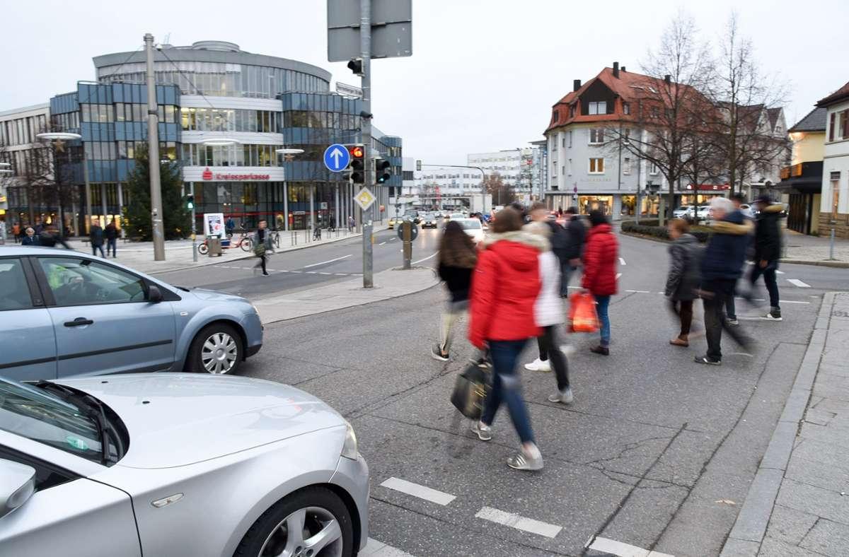 Neue Orientierung für die Fußgänger in Böblingen Foto: Kreiszeitung Böblinger Bote/Thomas Bischof