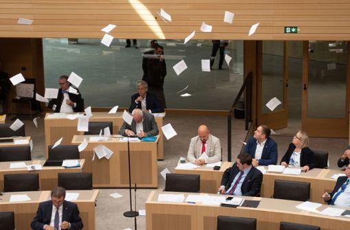 Junge Klimaschützer werfen Flugblätter von Landtagstribüne