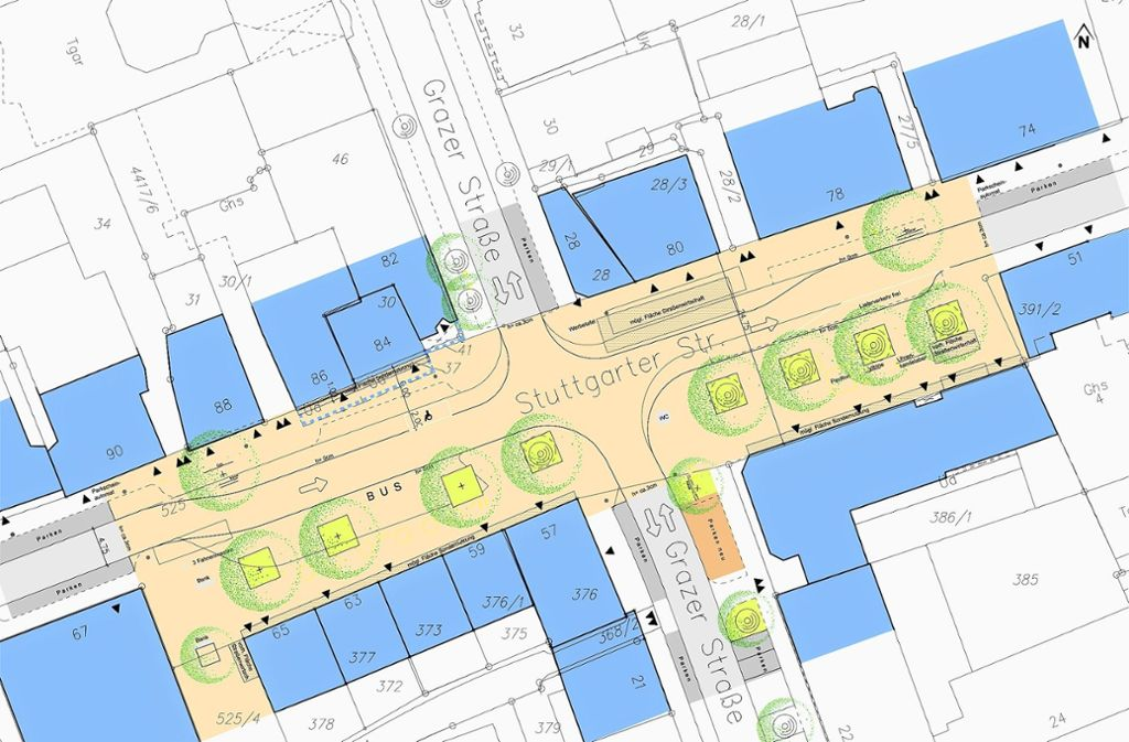 Der Entwurf   für den Bereich Grazer/Stuttgarter Straße sieht mehr Grün, keine Parkplätze und dafür breitere Gehwege vor. Foto: Stadt Stuttgart