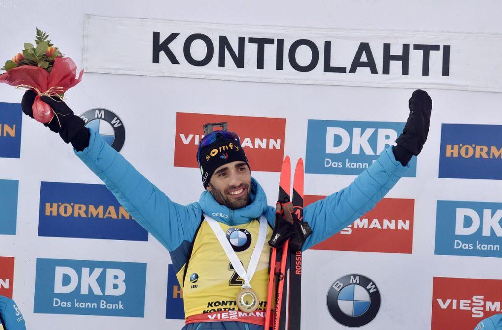 Genau vor zehn Jahren gewann Martin Fourcade in Kontiolahti seinen ersten Weltcup-Sieg. Zum Karriereende gelang ihm hier auch sein letzter. Foto: AFP/JUSSI NUKARI