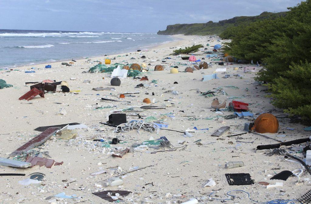 Mehrere Millionen Tonnen an Plastik gelangen jährlich in die Weltmeere – hier in Neuseeland. Foto: dpa/Jennifer Lavers