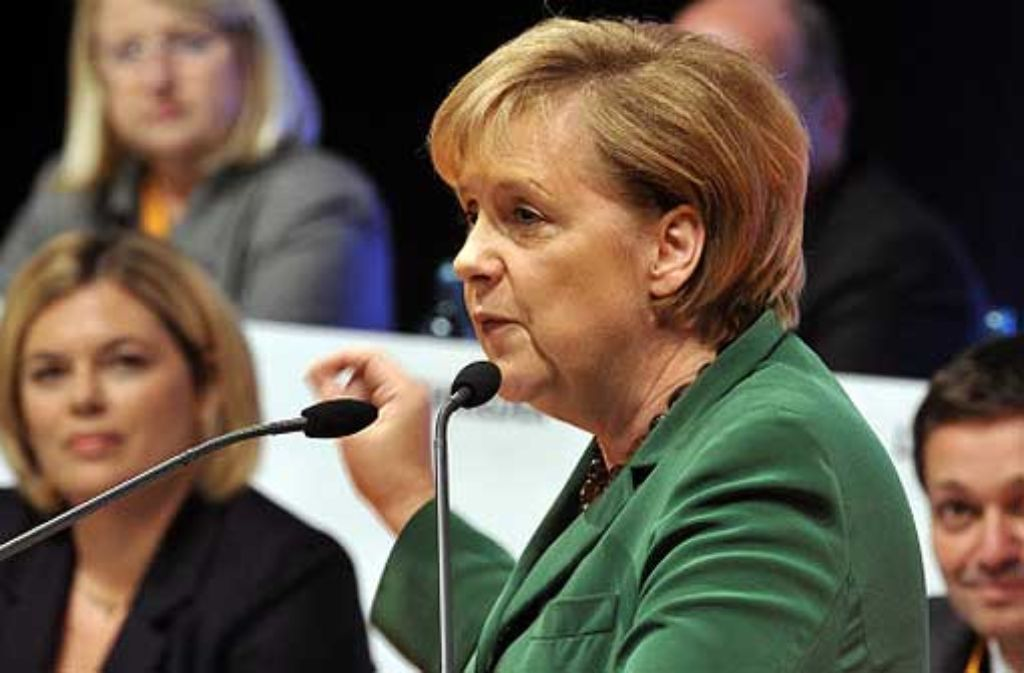 Angela Merkel verteidigte Stuttgart 21 vor der rheinland-pfälzischen CDU. Foto: dpa