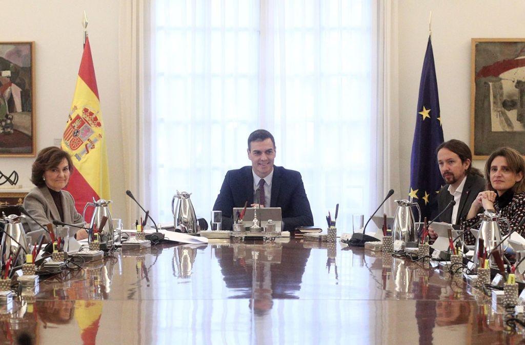 Pedro Sanchez, Ministerpräsident von Spanien, erklärte den Klimanotstand. Foto: dpa/Eduardo Parra