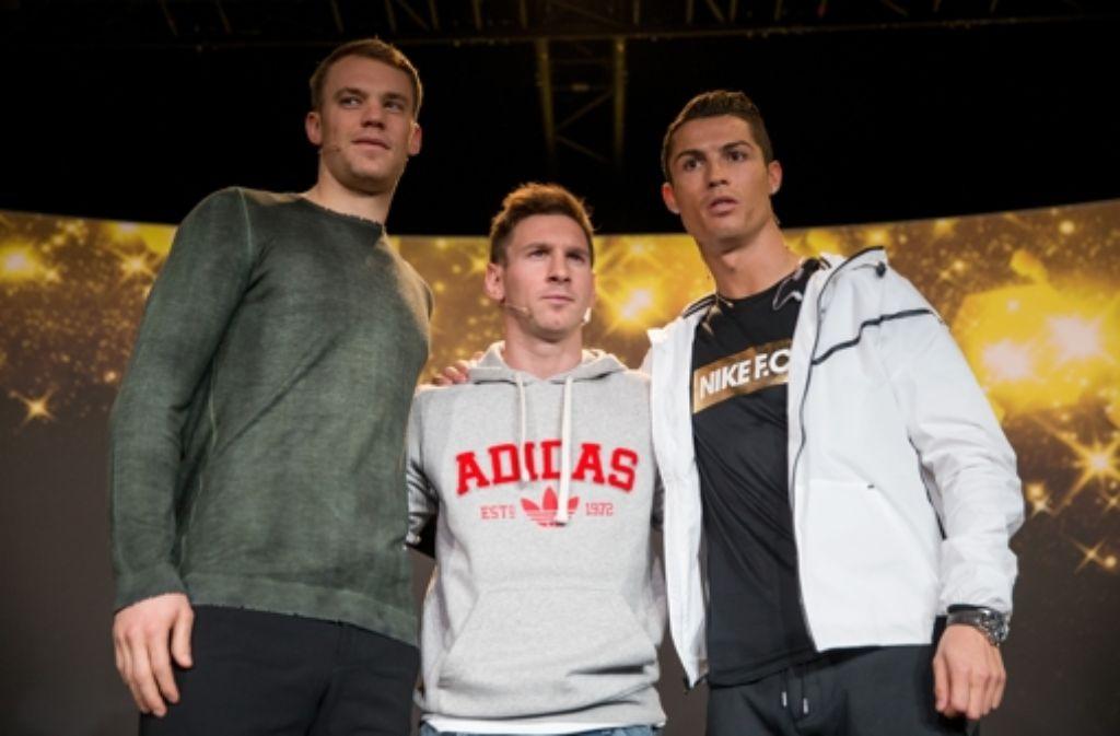 Manuel Neuer, Lionel Messi und Cristiano Ronaldo (von links) wollen Weltfußballer werden. Foto: Getty Images Europe