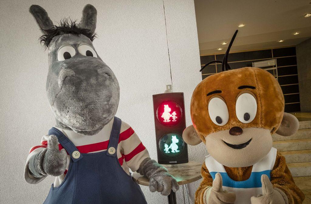 Der Fanclub freut sich: Äffle und Pferdle sollen bald auf einer Ampel in Stuttgart leuchten. Foto: Lichtgut/Leif Piechowski