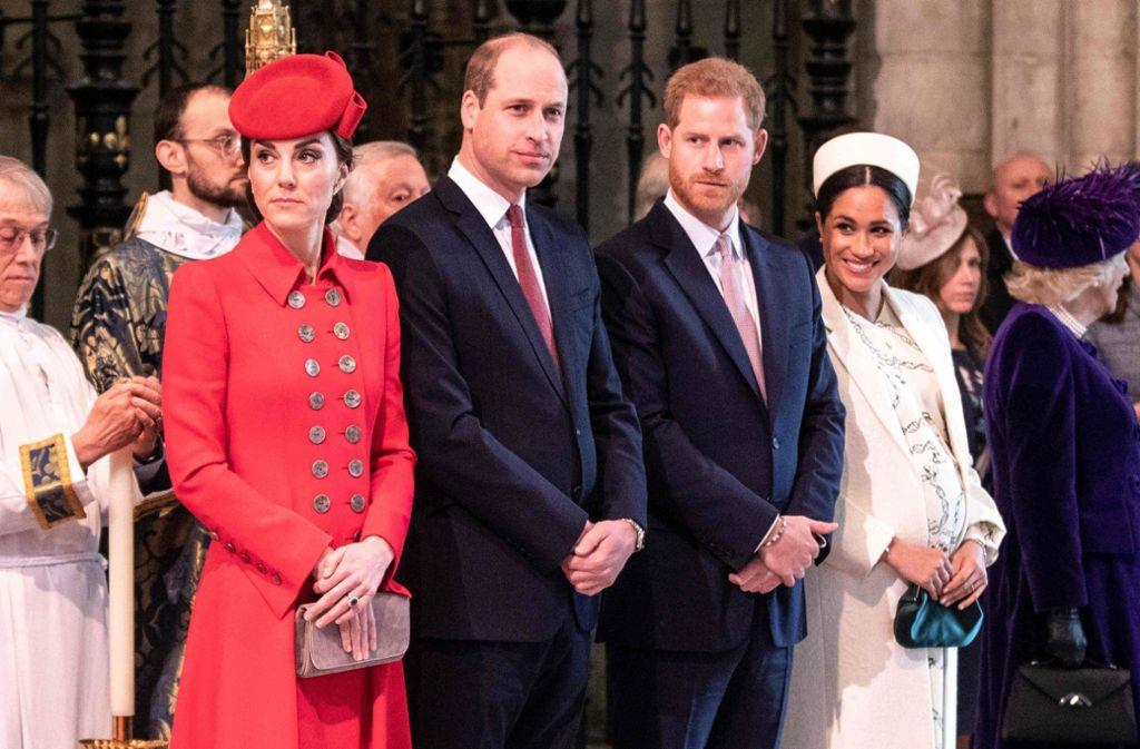 """Die """"Fab' Four"""" gehen auch auf Instagram getrennte Wege: Herzogin Kate, Prinz William, Prinz Harry und Herzogin Meghan (von links). Foto: AFP"""
