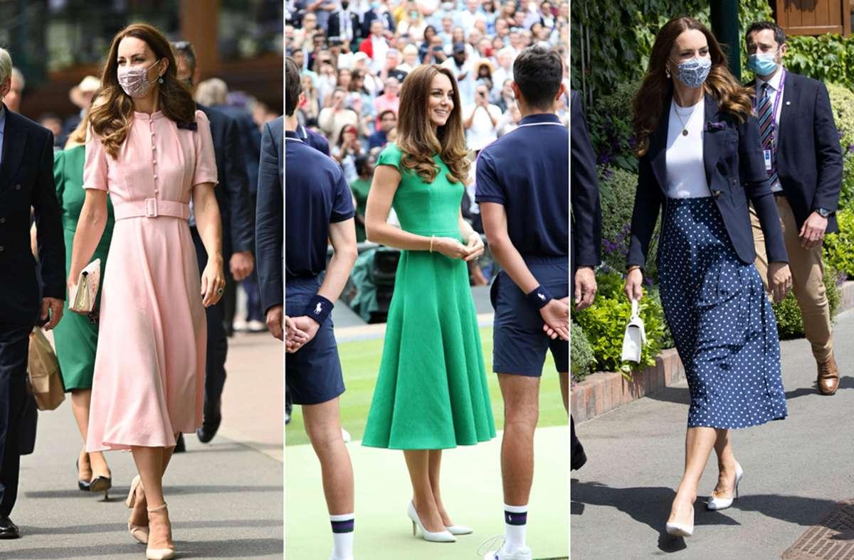 Drei Kleider, eine Länge: Midi ist Trend – und Herzogin Kate zeigt, wie man ihn trägt. Foto: Imago/I-Images/Paul Marriott