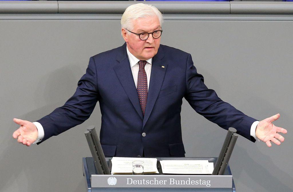 Bundespräsident Frank-Walter Steinmeier bei seiner Rede im Bundestag. Foto: dpa