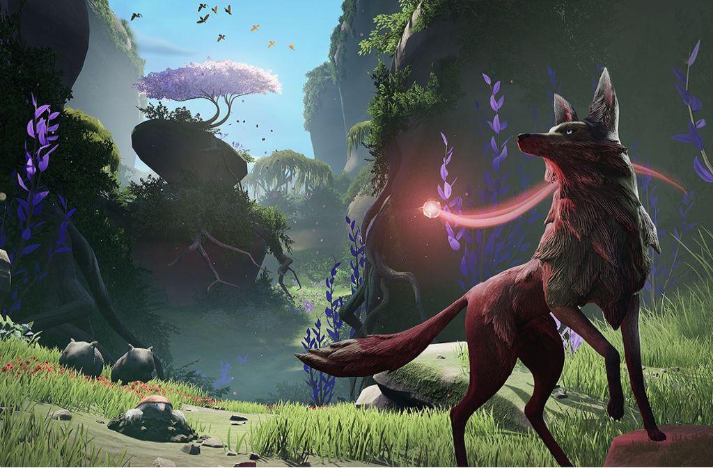 Geleitet von einem Geist in Form einer leuchtenden Kugel, macht sich ein Wolf auf die Suche nach seiner Vergangenheit. Foto: Mooneye Studios