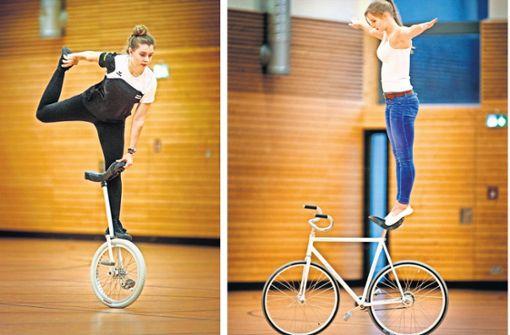 Künstler auf einem und zwei Rädern