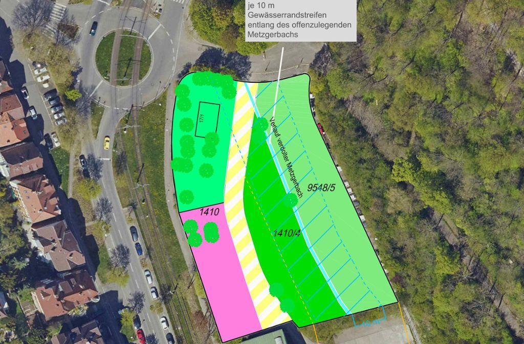 """So sieht die Skizze """"Freiflächen an der Beethovenstraße"""" aus, die das Amt für Stadtplanung und Stadterneuerung erstellt hat. Auf der rosa-gefärbten Fläche soll das Haus der Jugend gebaut werden. Auf dem Flurstück 1410/4 sind Freiflächen für Jugendliche vorgesehen. Und auf der anderen Seite des renaturierten Metzgerbaches soll ein Bürgerpark (9548/5) entstehen. Foto: Stadtplanungsamt"""
