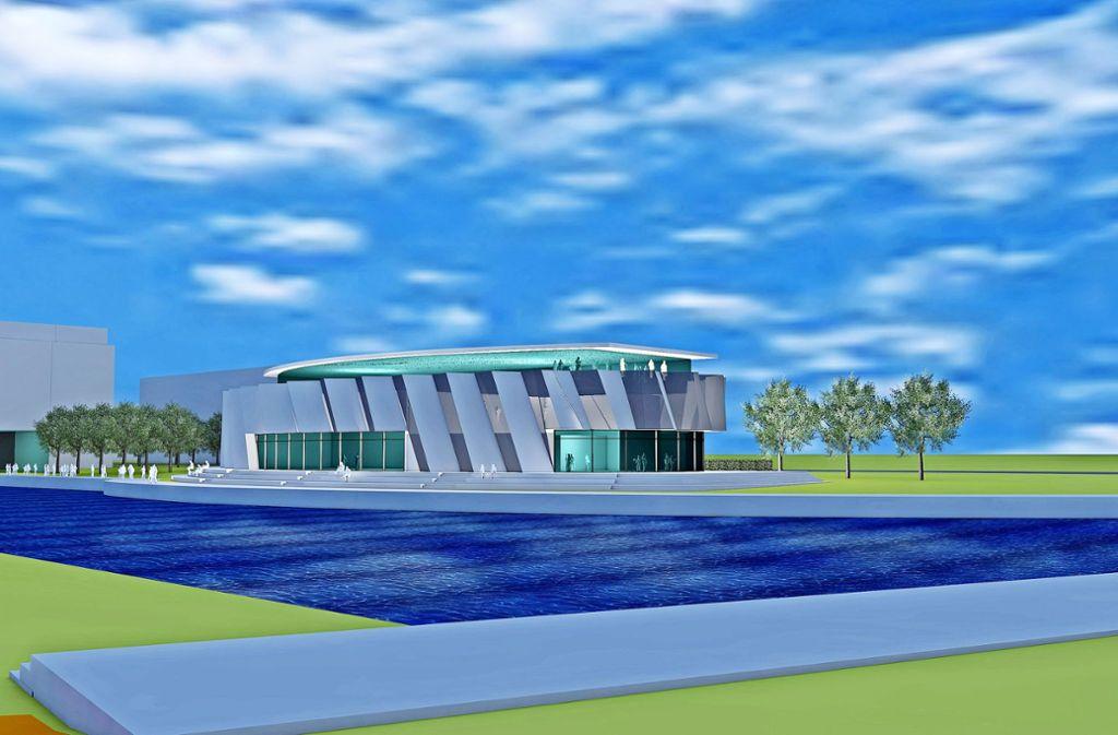 Thorsten Strotmann hat mit seinem Architekten schon mal eine Vision von einem Gebäude am Langen See entwickelt. Foto: Hulverscheidt+Kindler