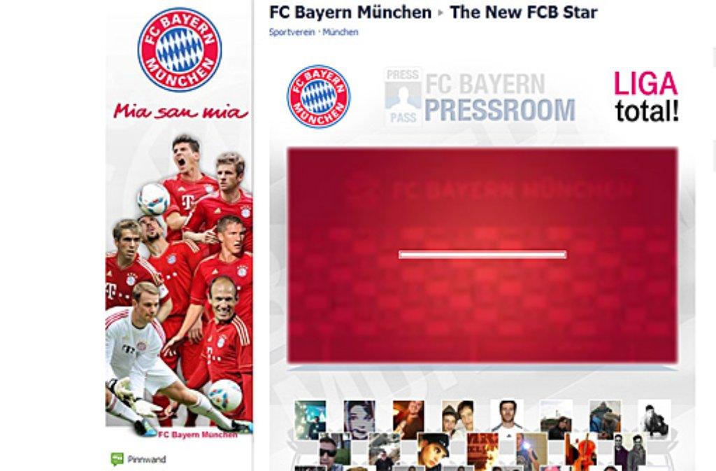 Von wegen neuer Topstar: Der FC Bayern wollte bloß auf seine neue Facebook-Aktion aufmerksam machen. Das hat er zweifellos geschafft. Screenshot: SIR