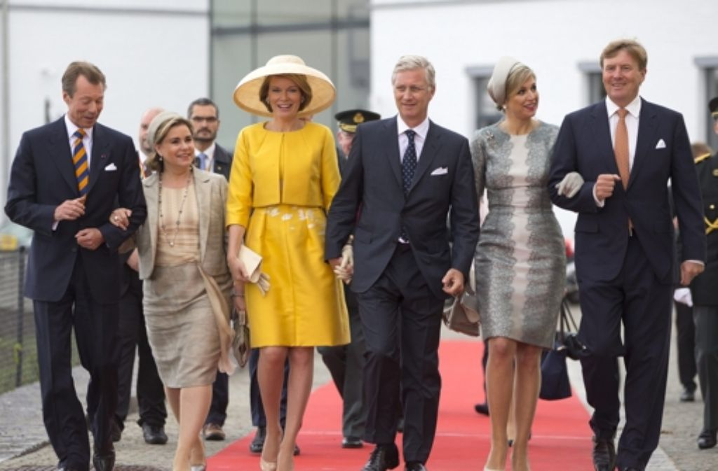 Vereint im Gedenken an die Toten von Waterloo: Das Großherzogspaar von Luxemburg und die Königspaare von Belgien und den Niederlanden. Foto: REUTERS POOL