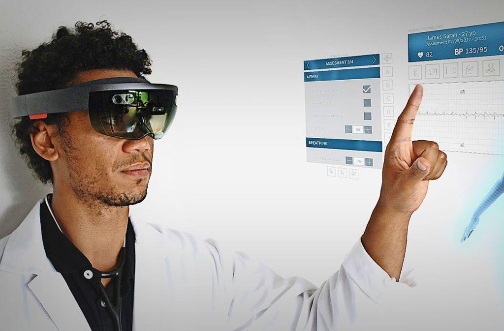 Dieses System sammelt  Daten und übermittelt sie: Augmented-Reality-Brillen sollen künftig  bessere Ferndiagnosen ermöglichen. Foto: nomadeec