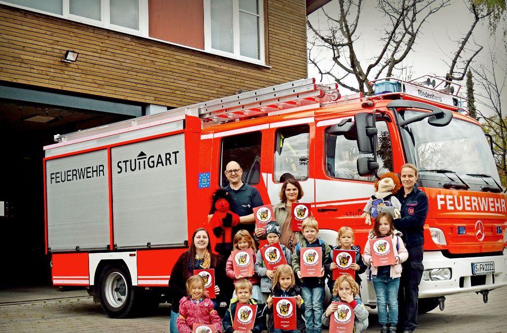 Vorschulkinder des Kinderhauses St. Paul beim Besuch in Riedenberg. Foto: privat