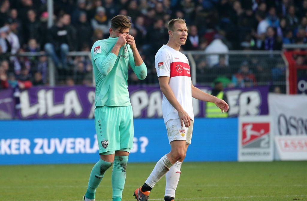 Gregor Kobel (links) und Holger Badstuber vom VfB Stuttgart äußern sich zur Coronavirus-Krise. Foto: Pressefoto Baumann/Julia Rahn