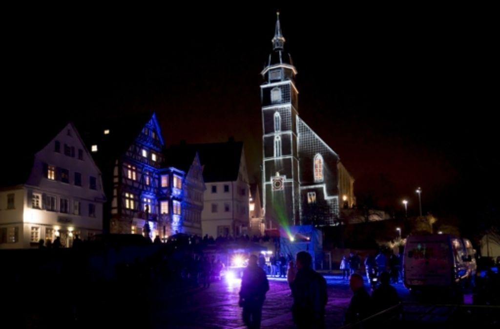 Eine Licht- und Musikshow gab es auf dem Böblinger Marktplatz. Foto: factum/Weise