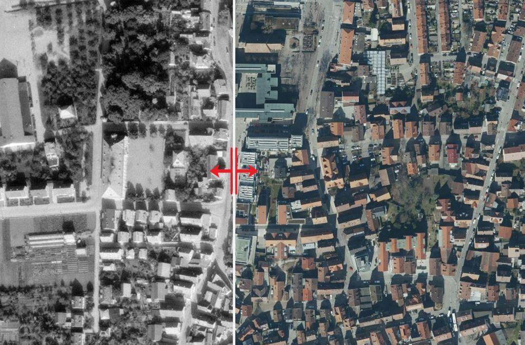 Wo früher einzelne Häuser und Grünflächen sind, zeigt sich Jahrzehnte später das moderne Rathaus-Carrée- Foto: Stadtmessungsamt Stuttgart