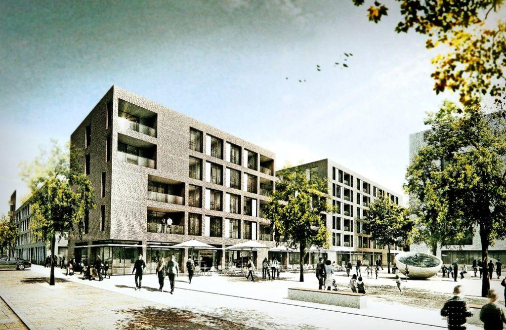 So soll sich der Baublock D der Neuen Weststadt von der Fleischmannstraße bei den Stadtwerken aus gesehen einmal präsentieren. Foto: EMT