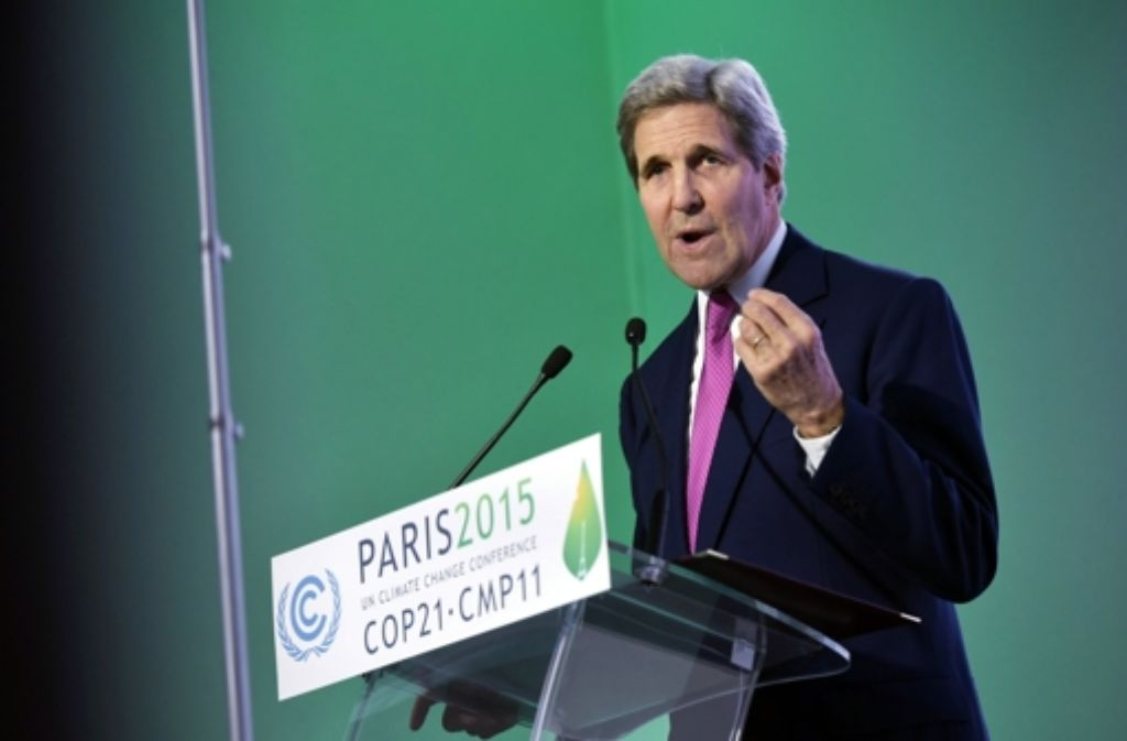 """""""Wir sind bereit, unseren Teil zu tun"""", betonte US-Außenminister John Kerry auf der Klimakonferenz in Paris. Foto: AP"""