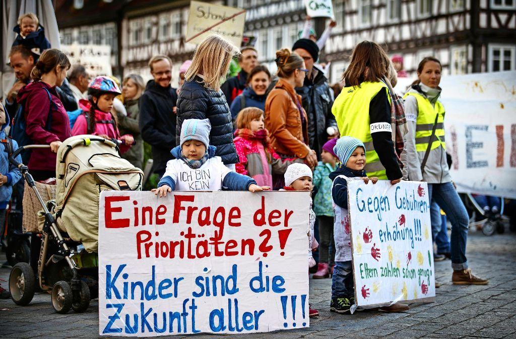 Der Elternprotest gegen die Erhöhung der Kinderbetreuungskosten hat letztlich fast nichts genutzt. Foto: Gottfried Stoppel