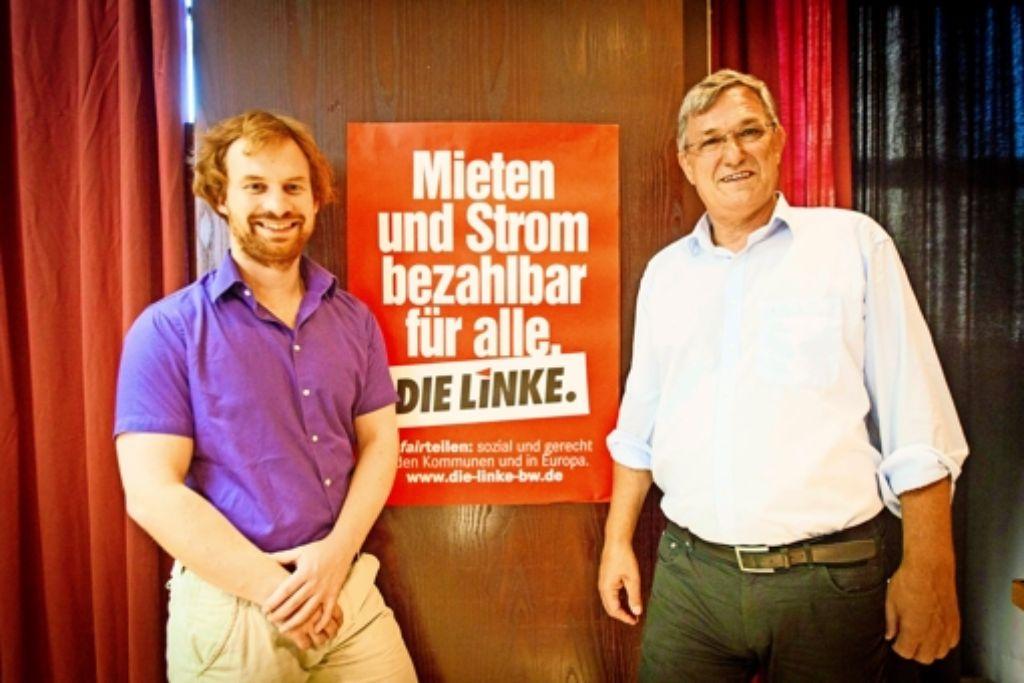 Stimmensammler für die Linke in Stuttgart: das Spitzenduo Hannes Rockenbauch (links) und Bernd Riexinger. Foto: Lichtgut/Leif Piechowski