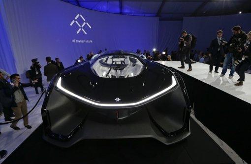 """Erinnert ein wenig an das Batmobil: der """"FFZERO1"""" von Faraday Future. Foto: AP"""