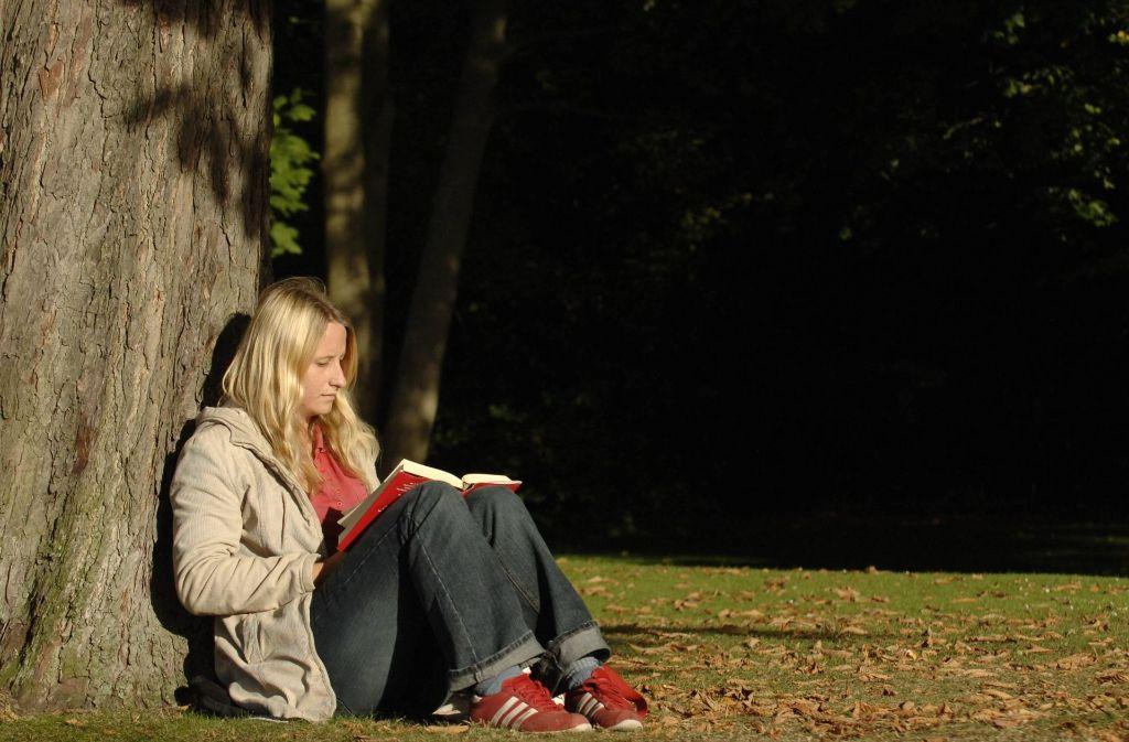 Mit einem guten Buch lässt es sich in der warmen Herbstsonne bestens aushalten. Foto: dpa