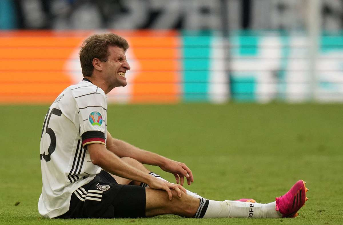 Thomas Müller droht bei der EM 2021 gegen Portugal auszufallen. Foto: AFP/MATTHIAS SCHRADER