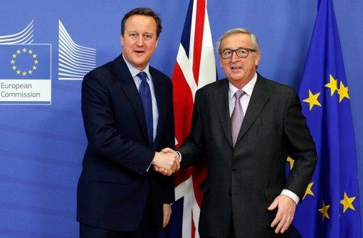 Jean-Claude Juncker und der britische Premier  David Cameron bei den Gesprächen in Brüssel. Foto: dpa