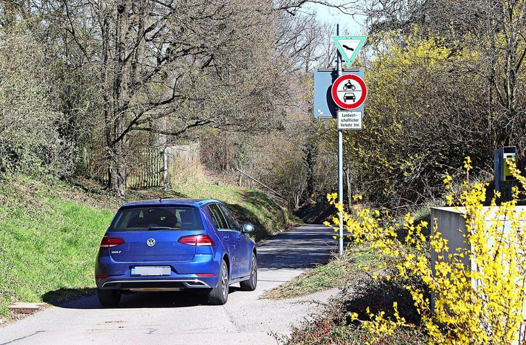 Erwischt: An diese Stelle, wo das Auto unerlaubterweise in den Weg hinein fährt, sollen Poller kommen. Foto: Caroline Holowiecki