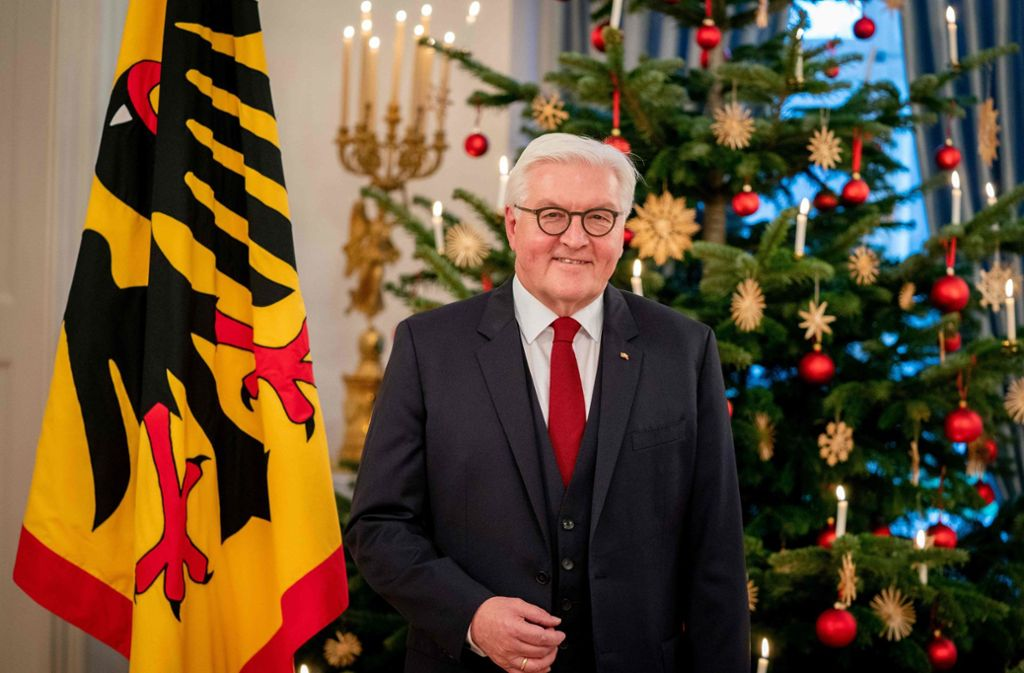 Bundespräsident Frank-Walter Steinmeier bei seiner Weihnachtsansprache. Foto: AFP/KAY NIETFELD