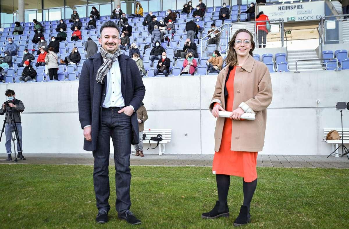 Dejan Perc und Lucia Schanbacher gehen für die SPD ins Rennen für die Bundestagswahl im Herbst. Foto: Lichtgut/Ferdinando Iannone