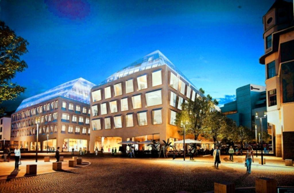 Blick vom Karlsplatz auf die Neubauten anstelle des Innenministeriums. Illustration: Breuninger
