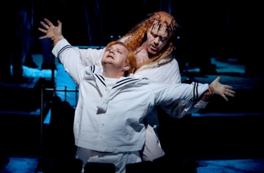Burkhard Fritz als Parsifal (vorne) und Detlef Roth als Amfortas Foto: Bayreuther Festspiele