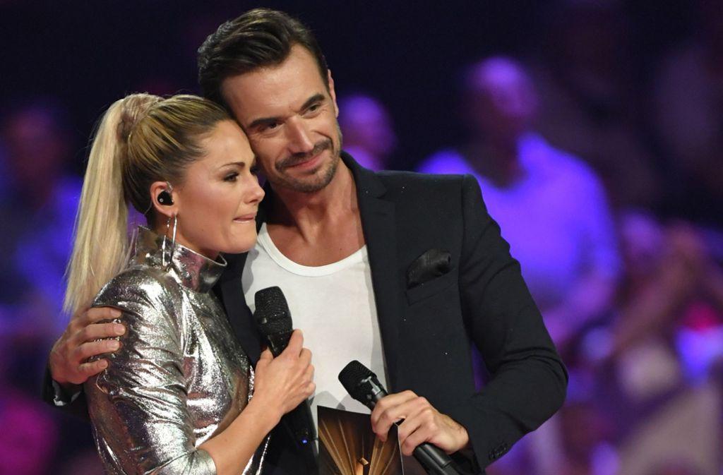 Haben sich immer noch gern: Helene Fischer – sichtlich ergriffen – und Florian Silbereisen bei ihrem ersten öffentlichen Wiedersehen seit der Trennung am Samstagabend in einer TV-Show. Foto: dpa