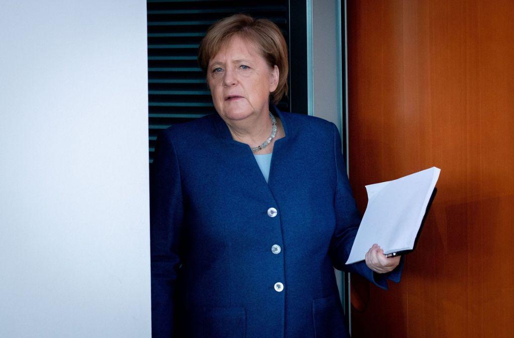 Kanzlerin Angela Merkel diskutierte bei der Videokonferenz mit den Ministerpräsidenten. Foto: dpa/Kay Nietfeld