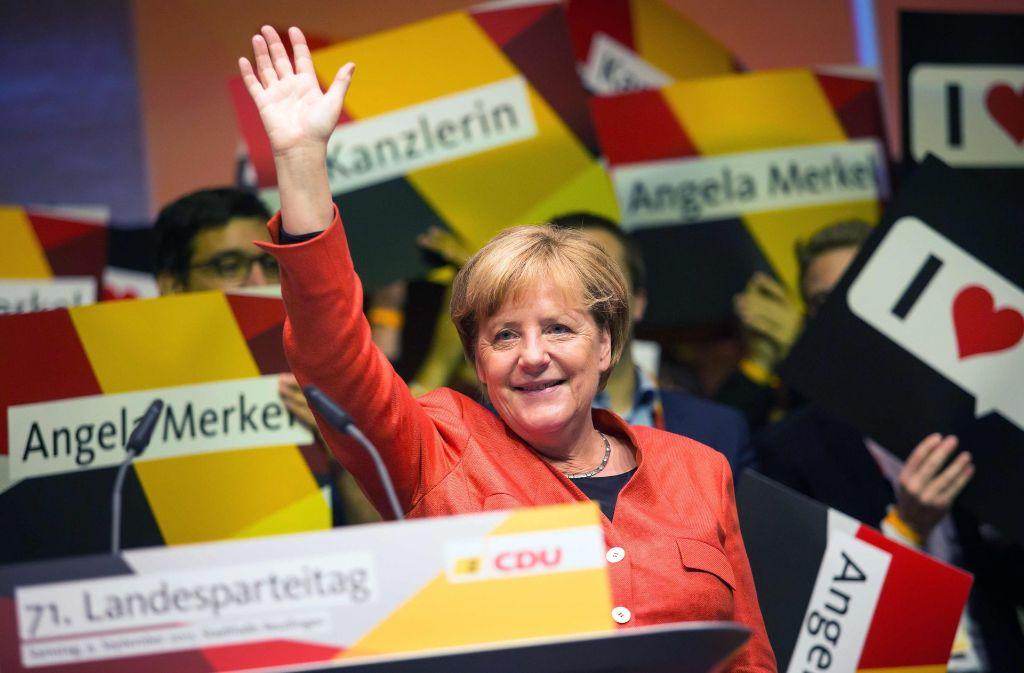 """Warnt davor, dass Deutschland zur """"verlängerten Werkbank"""" internationaler Firmen wird: Bundeskanzlerin Angela Merkel in Reutlingen. Foto: dpa"""