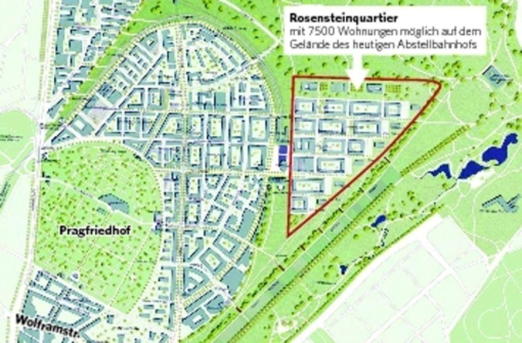 Der Entwurf von Pesch & Partner wurde 2005 beim städtebaulichen Wettbewerb zum Rosensteinquartier mit dem ersten Preis ausgezeichnet und ist somit nach Aussage der Stadt die Grundlage der künftigen Planung. Foto: Pesch & Partner, Architektur und Stadtplanung/mik