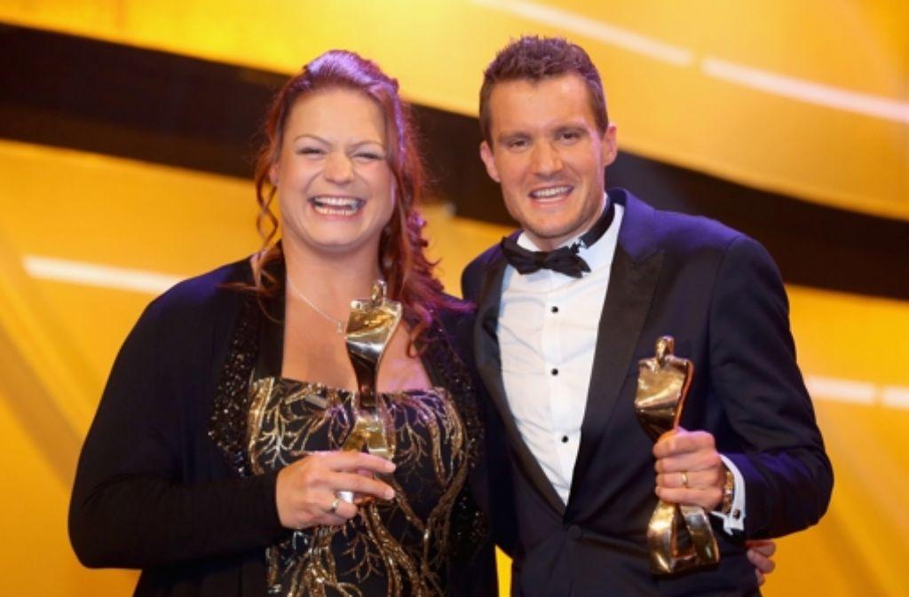 Sportler des Jahres: Christina Schwanitz und Jan Frodeno. Weitere Bilder von der Preisverleihung in Baden-Baden zeigen wir in unserer Fotostrecke. Foto: Getty