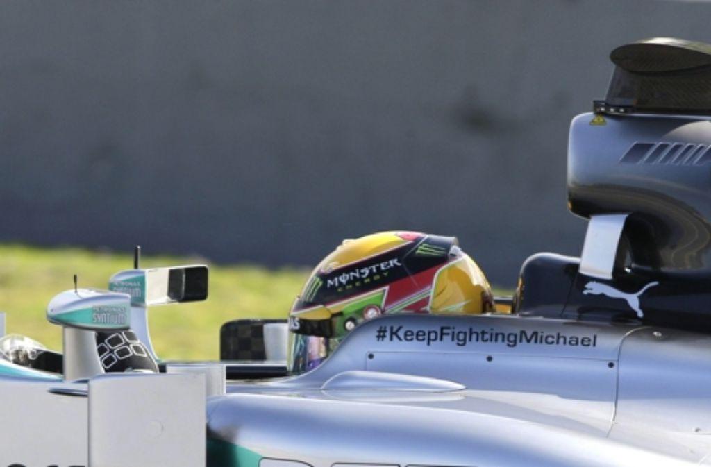 Mercedes  testet mit einer Botschaft für Michael Schumacher. Foto: dpa