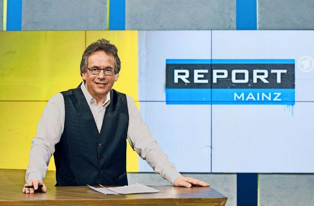 """""""Report Mainz"""" mit dem TV-Chefredakteur Fritz Frey als Moderator gilt als investigatives Flaggschiff des SWR. Foto: SWR/Carsten Costard"""
