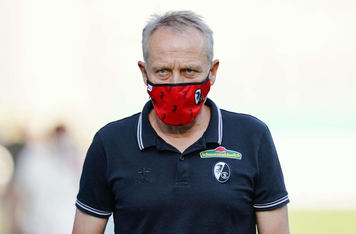 Wann die Mannschaft von Trainer Christian Streich in ihr neues Stadion umzieht, ist noch unklar. Foto: dpa/Uwe Anspach