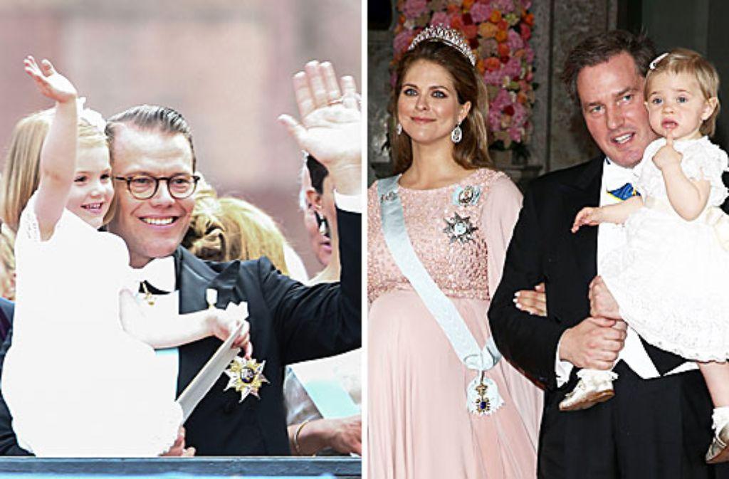 Zwei niedliche Schwedenhappen: Prinzessin Estelle mit ihrem Vater Daniel (links) und ihre Cousine Leonore mit ihren Eltern Madeleine und Chris. Foto: Getty Images