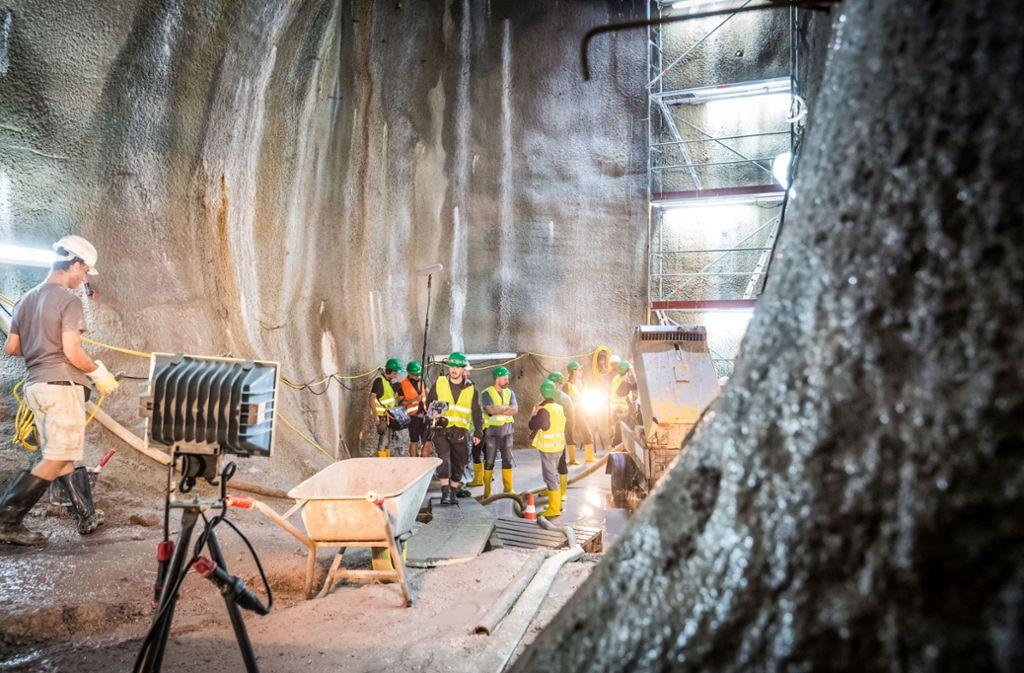 Das Filmset in einer der Tunnelröhren des S-21-Bahnprojekts  in Stuttgart-Wangen. Foto: Lichtgut/Julian Rettig