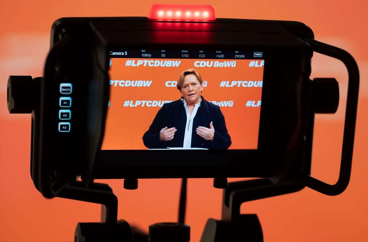 Susanne Eisenmann während Ihrer Rede beim Landesparteitag der CDU. Foto: AFP/Marijan Murat